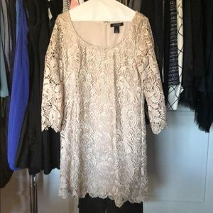 White House Black Market nude lace shift dress